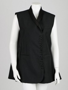 Balenciaga Black Silk Blend Vest Shift Dress Size 10/42