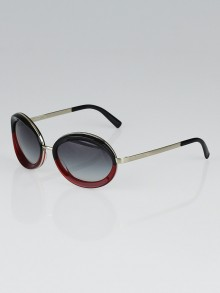 Chanel Dark Red Round Acetate Frame Lunettes Sunglasses-40787