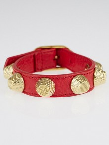 Balenciaga Red Leather Giant Gold Bracelet