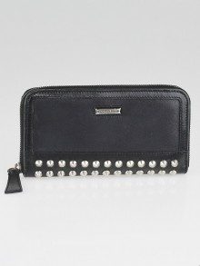 Burberry Black Leather Studded Zip Around Wallet