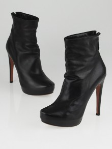 Alaïa Black Leather Platform Ankle Boots Size 7.5/38