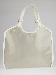 Louis Vuitton White Vinyl Epi Leather Plage Lagoon GM Tote Bag
