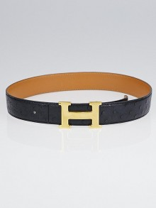 Hermes 32mm Black Ostrich / Natural Chamonix Leather Gold Plated Constance H Belt Size 70
