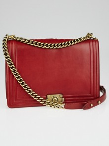 Chanel Dark Red Smooth Calfskin Leather Large Boy Bag