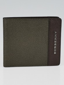Burberry Olive/Bordeaux Grained London Leather Bifold Wallet