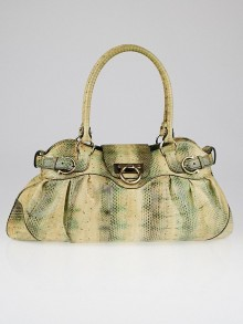 Salvatore Ferragamo Green/Yellow Snakeskin Marisa Shoulder Bag