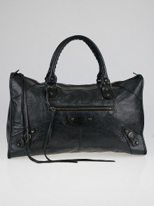 Balenciaga Anthracite Lambskin Leather Work Bag