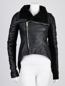 Rick Owens Black Lambskin Leather and Shearling Naska Biker Jacket Size 6/40