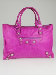 Balenciaga Magenta Lambskin Leather Giant 21 Silver Weekender Bag