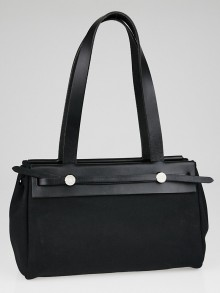 Hermes 32cm Black Canvas and Vache Calfskin Leather Herbag Cabas PM 2-in-1 Tote Bag