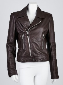 Balenciaga Brown Lambskin Leather New Moto Jacket Size 12/44
