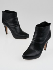 Prada Black Leather Platform Ankle Boots Size 4.5/35
