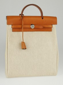 Hermes 30cm Natural Toile and Vache Calfskin Leather Herbag PM Backpack Bag