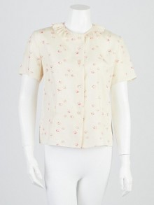 Marni Rose Print Silk Short Sleeve Button Up Blouse Size 6/40