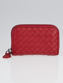 Bottega Veneta Fraise Intrecciato Woven Nappa Leather Coin Purse