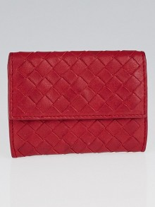 Bottega Veneta Fraise Intrecciato Woven Nappa Leather Card Case