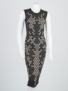 Alexander McQueen Black Honeycomb Print Rayon Stretch Sleeveless Dress Size 6/40