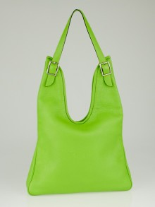 Hermes Vert Cru Clemence Leather Massai PM Bag
