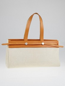 Hermes 40cm Natural Toile and Vache Calfskin Leather Herbag Cabas MM 2-in-1 Tote Bag