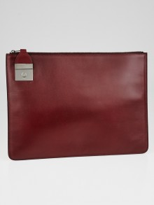 Celine Burgundy Leather Side Lock Clutch Bag
