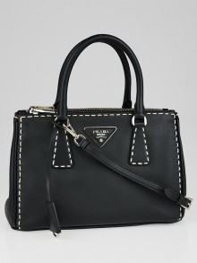 Prada Black City Calf Leather Mini Tote Bag BN2316