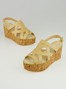 Chanel Beige Leather and Cork Wedge Sandals Size 5.5/36