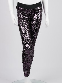 Dolce & Gabbana Purple Sequin Stretch Leggings Size 6/40