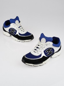 Chanel Black/Blue Suede and Fabric CC Sneakers Size 8.5/39