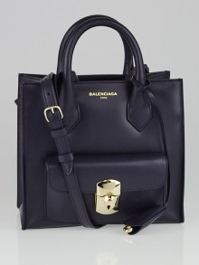 Balenciaga Bleu Nuit Calfskin Leather Padlock Mini All Afternoon Tote Bag