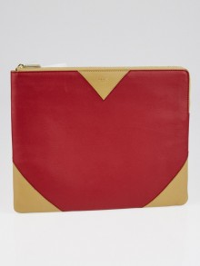 Celine Burgundy/Tan Leather Bi-Color Clutch Pouch Bag