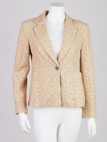 3.1 Phillip Lim Beige Cotton Blend Lace Blazer Jacket Size 4