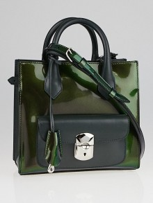 Balenciaga Dark Green Iridescent Patent Leather Padlock Mini All Afternoon Tote Bag