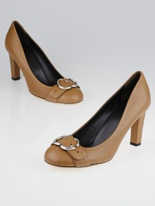Gucci Beige Leather Interlocking G Buckle Pumps Size 7.5/38