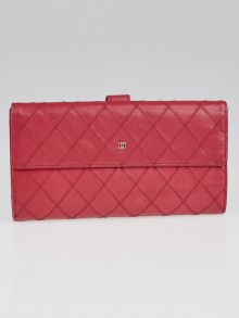 Chanel Pink Quilted Leather CC L-Double Wallet
