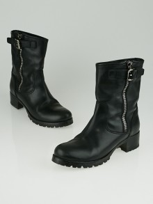 Prada Black Leather Buckle Motorcycle Boots Size 9/39.5