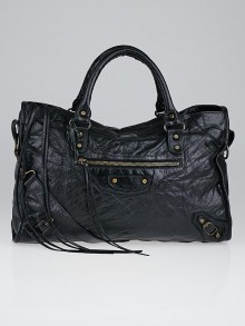 Balenciaga Black Chevre Leather Motorcycle City Bag