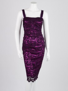 Dolce & Gabbana Purple Lace Sleeveless Dress Size 6/40