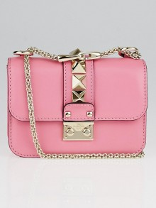 Valentino Pink Leather Glam Lock Small Flap Bag