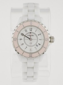 Chanel Soft Rose and White Ceramic 33mm Swiss Quartz Watch