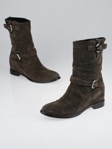 Prada Brown Suede Buckles Motorcycle Boots Size 7.5/38