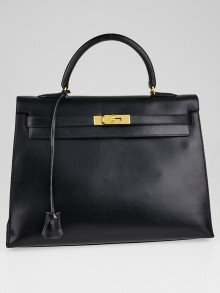 Hermes 35cm Black Box Leather Gold Plated Kelly Sellier Bag