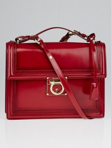 Salvatore Ferragamo Red Calfskin Leather Marisol Crossbody Bag