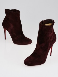 Christian Louboutin Burgundy Suede Fifi Booty 100 Ankle Boots Size 9/39.5