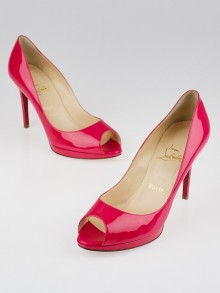 Christian Louboutin Hot Pink Patent Leather Yolanda Peep-Toe 100 Pumps Size 8/38.5