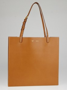 Celine Tan Vegetal Calfskin Leather Triple Shopper Tote Bag