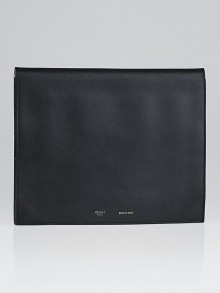 Celine Black Smooth Calfskin iPad Folio Clutch Bag