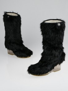 Chanel Black Faux Fur Wedge Boots Size 8.5/39