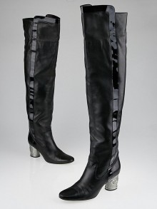 Chanel Black Leather Silvertone Heel Over-the-Knee Boots Size 9/39.5