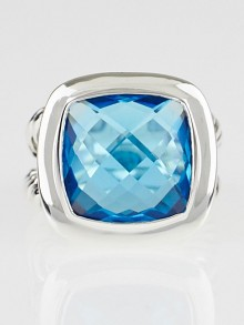 David Yurman 14mm Blue Topaz and Sterling Silver Albion Ring Size 5.5