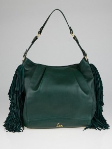 Christian Louboutin English Green Calfskin Leather Justine Fringed Hobo Bag